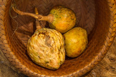 Annona scaly, sugar apple fruit. Annona cherimola fruit. Organic custard apple, sweetsop fruit. Organic fruit concept. Selective focus Royalty Free Stock Photo