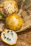 Annona scaly, sugar apple fruit. Divided half annona  cherimola fruit. Royalty Free Stock Image