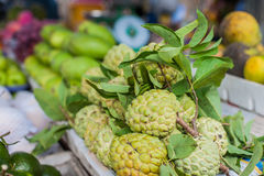 Annona squamosa, sugar apple in the Vietnamese market. Asian food concept Royalty Free Stock Images