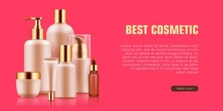 Annonce cosmétique de maquette de bouteille illustration de vecteur