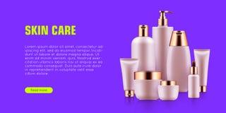 Annonce cosmétique de maquette de bouteille illustration libre de droits