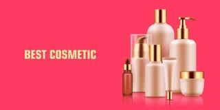 Annonce cosmétique de maquette de bouteille illustration stock
