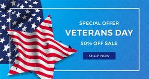 Annonce de bannière de la publicité de jour de vétérans, drapeau réaliste de l'Amérique avec des plis sous forme d'étoile et text Illustration Libre de Droits