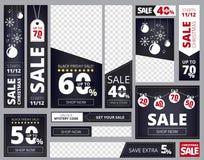 Annonce de bannières de Web Les différentes tailles et formes du calibre de vecteur de collection de bannières d'affaires de publ illustration libre de droits