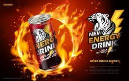 Annonce de boissons d'énergie Photo stock