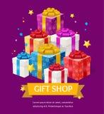 Annonce de boutique de cadeaux Vecteur illustration de vecteur