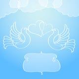 Annonce de mariage avec des colombes Photo libre de droits