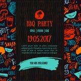 Annonce de partie d'ouverture de BBQ Gribouillez l'affiche tirée par la main avec les accessoires de barbecue, le lettrage, la da Photo stock