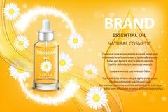 Annonce de produit cosmétique d'huile essentielle de camomille Illustration du vecteur 3d Conception de calibre de bouteille de s Photographie stock