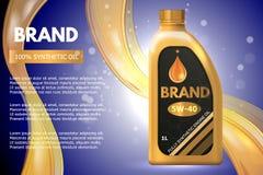Annonce de récipient de produit pétrolier de moteur Illustration du vecteur 3d Conception de calibre de bouteille d'huile à moteu Photographie stock libre de droits