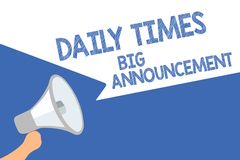 Annonce de Daily Times des textes d'écriture grande Signification de concept intentant des actions rapidement utilisant le spe de illustration stock