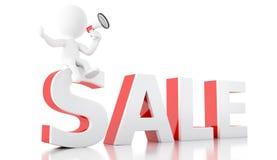 annonce de vente des personnes de race blanche 3d avec le mégaphone illustration stock