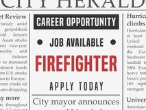 Annonce du travail de sapeur-pompier illustration libre de droits