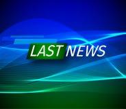 Annonce et une ligne de message avec un message au sujet des dernières nouvelles sur l'air sur un vert futuriste et bleu illustration de vecteur