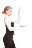 Annonce Femme d'affaires montrant l'espace vide de copie Photo stock