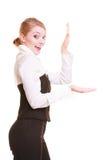 Annonce Femme d'affaires montrant l'espace vide de copie Images libres de droits