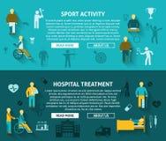 Annonce horizontale de bannière handicapée par couleur plate Image stock
