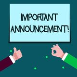 Annonce importante des textes d'écriture de Word Concept d'affaires pour la déclaration parlée qui indique montrer au sujet de qu illustration stock