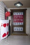 Annonce sur la porte de la maison Image stock