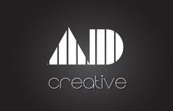 ANNONCE une lettre Logo Design With White de D et lignes noires Photos stock