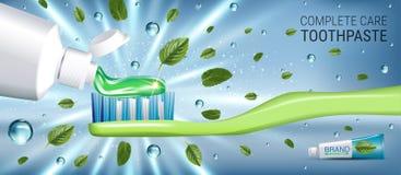 Annonces antibactériennes de pâte dentifrice Dirigez l'illustration 3d avec des feuilles de pâte dentifrice et d'esprit Photo libre de droits
