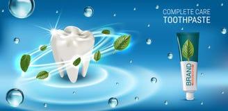 Annonces antibactériennes de pâte dentifrice Dirigez l'illustration 3d avec des feuilles de pâte dentifrice et d'esprit Images stock