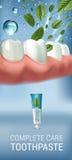 Annonces antibactériennes de pâte dentifrice Dirigez l'illustration 3d avec des feuilles de pâte dentifrice et d'esprit Image stock