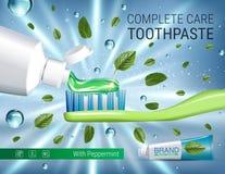 Annonces antibactériennes de pâte dentifrice Dirigez l'illustration 3d avec la pâte dentifrice, balayez et occupez-vous des feuil Photo stock