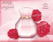 Annonces calibre, moquerie de princesse Cosmetic de bouteille de parfum petites de gouttelette d'isolement sur le fond de roses d illustration stock