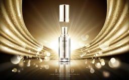 Annonces cosmétiques d'or illustration stock