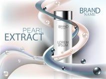 Annonces cosmétiques, extrait noir et blanc de perles avec la bouteille cosmétique et vagues de crème Faites face au soin, au soi Photo stock