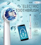 Annonces de brosse à dents électrique Dirigez l'illustration 3d avec la brosse vibrante et l'APP dentaire mobile sur l'écran du t Images stock