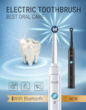 Annonces de brosse à dents électrique Dirigez l'illustration 3d avec la brosse vibrante et la dent Image libre de droits
