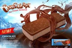 Annonces de crème glacée de chocolat illustration de vecteur
