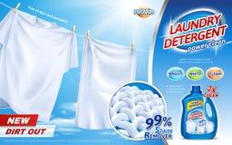 Annonces de détergent de blanchisserie Photo libre de droits