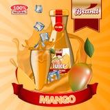 Annonces de Juice Mango avec le logo et le label Maquette editable réaliste illustration stock