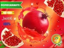 Annonces de jus de grenade, fruit réaliste dans la publicité rouge de jus Photos libres de droits