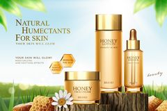 Annonces de soins de la peau de miel illustration de vecteur