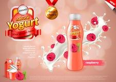 Annonces de yaourt Framboises à l'arrière-plan de vecteur d'éclaboussure de lait illustration libre de droits