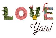 Annoncez je t'aime avec des décorations de fleurs illustration de vecteur