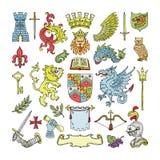 Annoncez l'emblème héraldique de vintage de bouclier et d'héraldique de vecteur du lion de couronne ou adoubez l'ensemble d'illus illustration stock