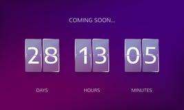 Annoncez la conception de compte à rebours Comptez les jours, les heures et les minutes à caming bientôt l'événement Illustration illustration libre de droits