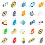 Annoncez les icônes réglées, style isométrique illustration de vecteur