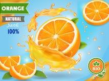 Annons för orange fruktsaft Realistiska frukter i saftig färgstänkpackedesign royaltyfri illustrationer
