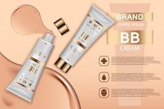 Annons för produkter för hudfärgpulver kosmetisk Illustration för vektor 3d Design för mall för flaska för hudkräm Framsida- och  Fotografering för Bildbyråer