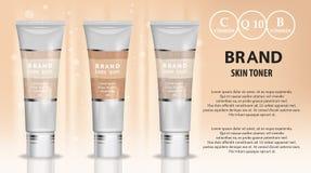 Annons för produkter för hudfärgpulver kosmetisk Illustration för vektor 3d Design för mall för flaska för hudkräm Framsida- och  Arkivbilder