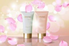 Annons för skönhetsmedel för kronblad för delikat rosa färgblomma fallande Beige vit modell för packe för reflexion för rör för m vektor illustrationer