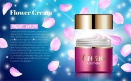Annonser för lotion för blekmedel för rosa färgkrämbanken slösar bakgrund Royaltyfria Foton