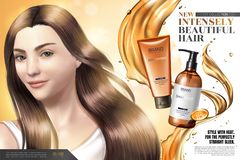Annonser för produkt för håromsorg stock illustrationer