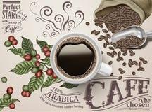 Annonser för svart kaffe stock illustrationer